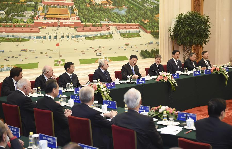 Chinese President Xi Jinping Meets the 21st Century Council in Beijing